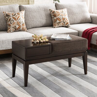 Crandell 1 Drawer Coffee Table with Storage Table Top Color: Taupe, Table Base Color: Chocolate Cherry