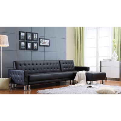 Shipton Tufted Reversible Modular Sectional Upholstery: Black