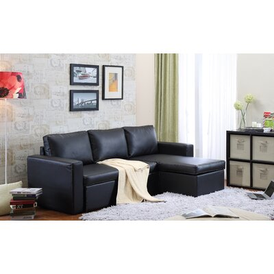 Lumley Reversible Modular Storage Sectional Upholstery: Black