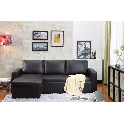 Lumley Reversible Modular Storage Sectional Upholstery: Brown