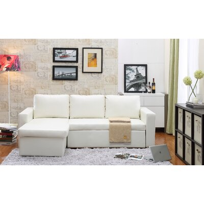Lumley Reversible Modular Storage Sectional Upholstery: White