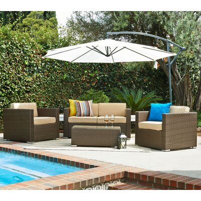 5 Piece Outdoor Conversation Set Frame Color: Dark Brown