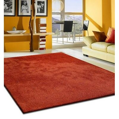 Heineman Solid Shag Hand-Tufted Red Area Rug Rug Size: Rectangle 5 x 7
