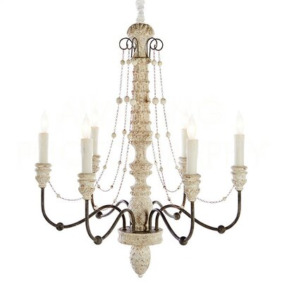 Lena Small Candle-Style Chandelier Finish: White