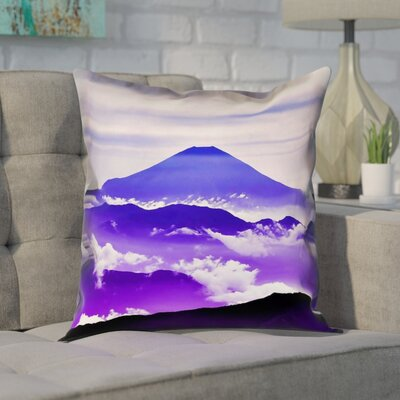 Enciso Fuji Square Pillow Cover Size: 18 H x 18 W, Color: Blue/Purple