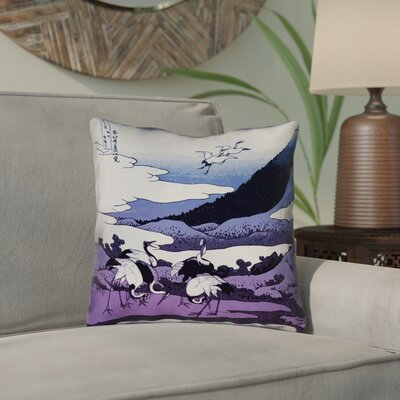 Montreal Japanese Cranes Square Indoor/Outdoor Throw Pillow Size: 18 x 18 , Pillow Cover Color: Blue/Purple