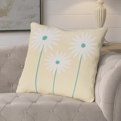 Broecker Floral Print Outdoor Throw Pillow Color: Soft Yellow, Size: 16 H x 16 W x 1 D