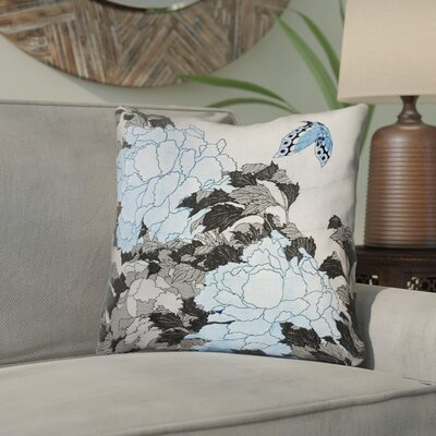Clair Peonies and Butterfly Indoor Throw Pillow Size: 14 H x 14 W, Color: Gray/Blue