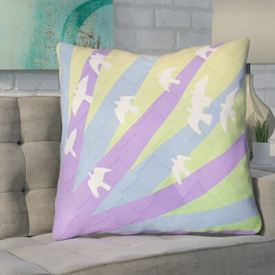 Enciso Birds and Sun 100% Cotton Euro Pillow Color: Purple/Blue/Yellow