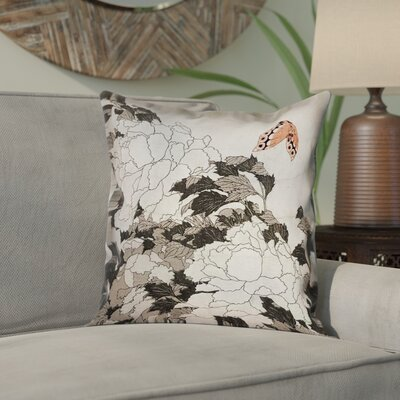 Clair Peonies with Butterfly Square 100% Cotton Pillow Cover Color: Orange/Gray, Size: 14 x 14