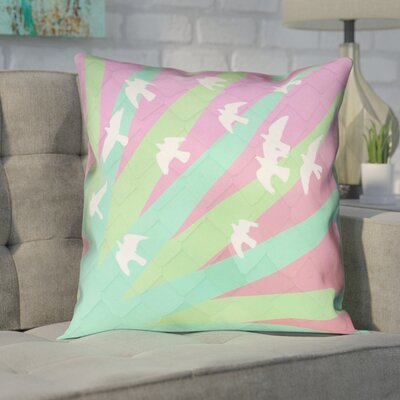 Enciso Birds and Sun  Double Sided Print Pillow Cover Color: Green/Pink, Size: 14 x 14