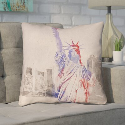 Houck Watercolor Statue of Liberty Square Throw Pillow Size: 26 H x 26 W