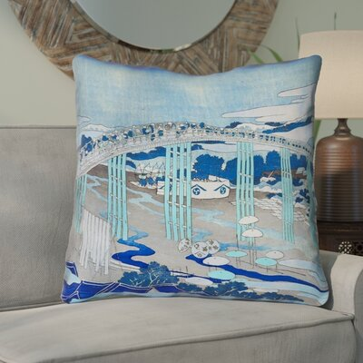 Enya Japanese Bridge Square Throw Pillow Color: Blue, Size: 18 x 18