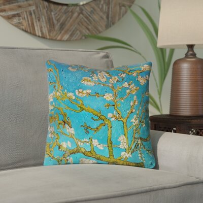 Lei Almond Blossom Outdoor Throw Pillow Color: Blue/Yellow, Size: 18 x 18