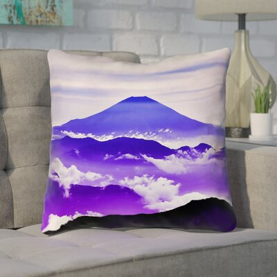 Enciso Fuji Cotton Throw pillow Size: 14 H x 14 W, Color: Blue/Purple