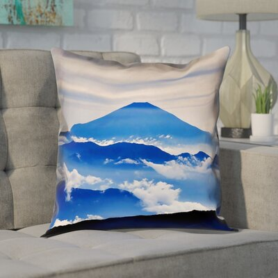 Enciso Fuji Square Pillow Cover Size: 14 H x 14 W, Color: Blue
