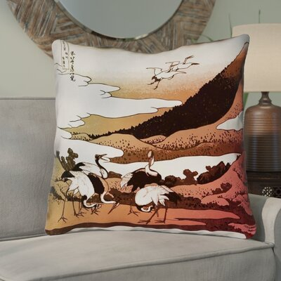 Montreal Japanese Cranes Suede Throw Pillow Size: 14 x 14 , Pillow Cover Color: Red