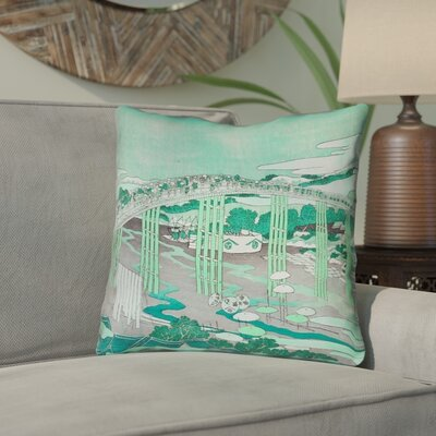 Enya Japanese Bridge Linen Throw Pillow Color: Green, Size: 20 x 20
