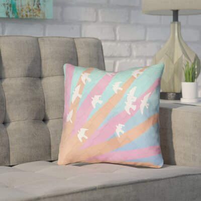 Enciso Birds and Sun Faux Leather Throw Pillow Color: Orange/Pink/Blue, Size: 18 H x 18 W
