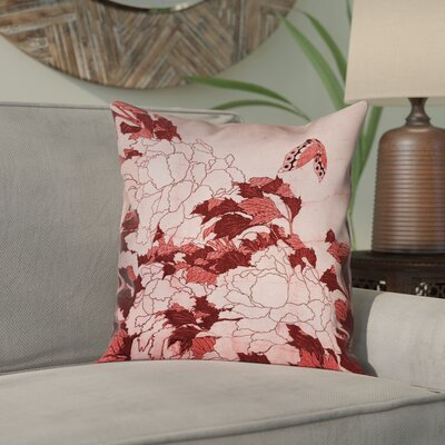 Clair Peonies and Butterfly Pillow Cover Size: 14 H x 14 W, Color: Red