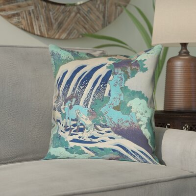 Channelle Horse and Waterfall Pillow Cover Color: Teal, Size: 16 x 16