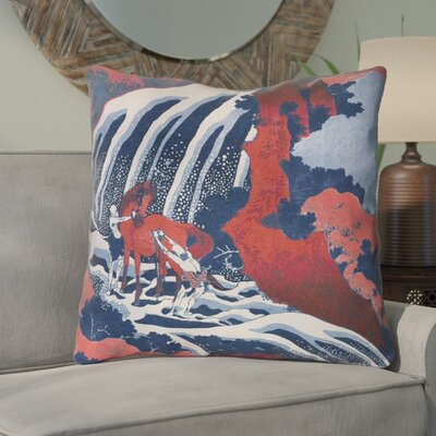 Channelle Horse and Waterfall Indoor Euro Pillow Color: Red/Blue