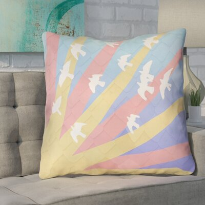 Enciso Birds and Sun Euro Pillow Color: Pink/Yellow/Blue