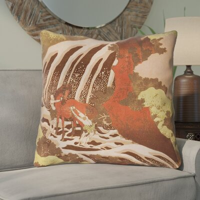 Channelle Horse and Waterfall Indoor Euro Pillow Color: Yellow