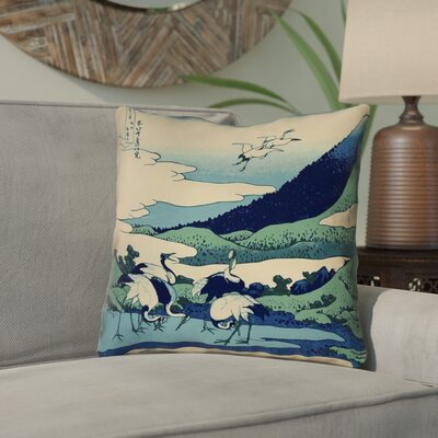 Montreal Japanese Cranes 100% Cotton Throw Pillow Size: 14 x 14 , Pillow Cover Color: Ivory/Blue