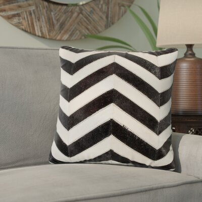 Graham Leather Throw Pillow Color: Black/Natural