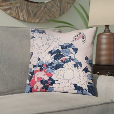 Clair Peonies and Butterfly Indoor Square Throw Pillow Size: 14 H x 14 W, Color: Blue/Pink