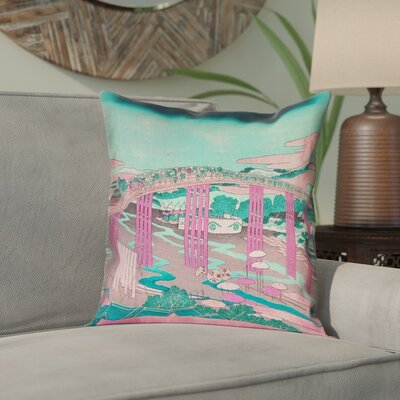 Enya Japanese Bridge Square Linen Pillow Cover Color: Pink/Teal, Size: 14 x 14