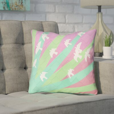 Enciso Birds and Sun Outdoor Throw Pillow Color: Green/Pink, Size: 18 x 18