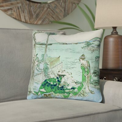 Enya Japanese Courtesan Cotton Throw Pillow Color: Green/Blue, Size: 14 x 14