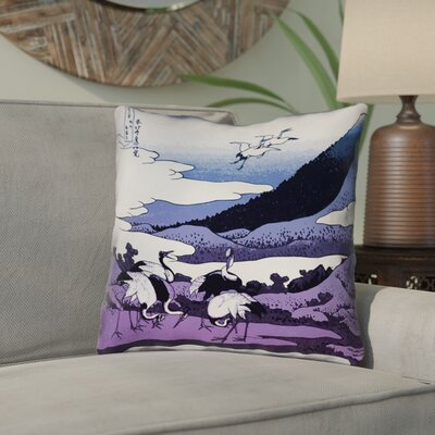 Montreal Japanese Cranes 100% Cotton Throw Pillow Size: 14 x 14 , Pillow Cover Color: Purple/Green