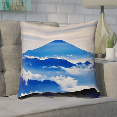 Enciso Fuji Cotton Throw pillow Size: 14 H x 14 W, Color: Blue