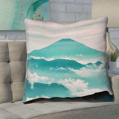 Enciso Fuji Square Throw pillow Size: 16 H x 16 W, Color: Green