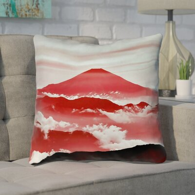 Enciso Fuji Throw Pillow with Concealed Zipper Size: 16 H x 16 W, Color: Red