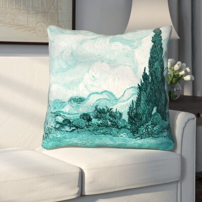 Woodlawn Wheatfield with Cypresses Throw Pillow Size: 40 x 40
