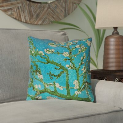 Lei Almond Blossom Outdoor Throw Pillow Color: Blue/Green, Size: 18 x 18