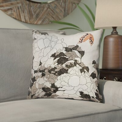 Clair Peonies with Butterfly Indoor Throw Pillow Color: Orange/Gray, Size: 18 x 18