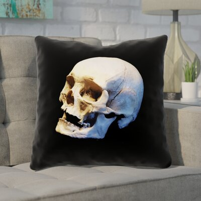 Mensa Skull 100% Cotton Throw Pillow Size: 14 x 14