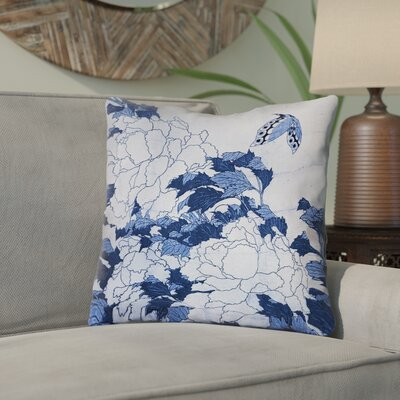 Clair Peonies and Butterfly Square Cotton Throw Pillow Size: 18 H x 18 W, Color: Blue