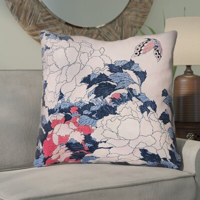 Clair Peonies and Butterfly Square Throw Pillow Size: 28 H x 28 W, Color: Light Pink/Blue