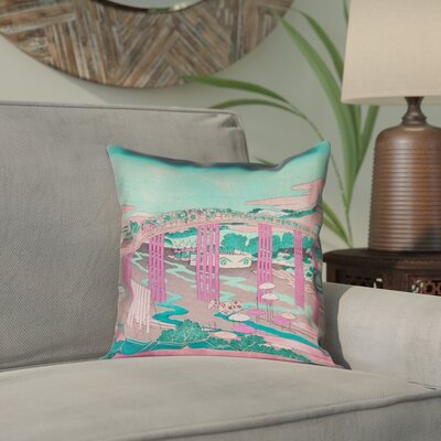 Enya Japanese Bridge Waterproof Throw Pillow Color: Pink/Teal, Size: 16 x 16