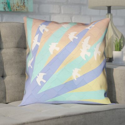Enciso Birds and Sun  Double Sided Print Pillow Cover Color: Blue/Orange, Size: 14 x 14
