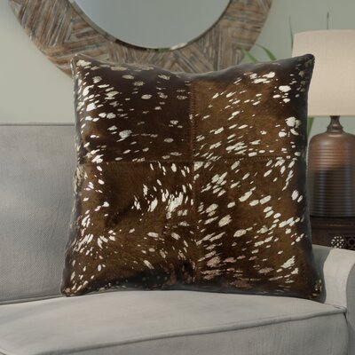 Graham Leather Throw Pillow Color: Gold/Chocolate