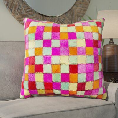 Graham Leather Throw Pillow Color: Pink/Yellow