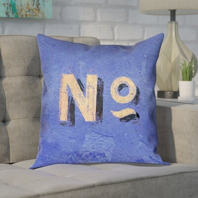 Enciso Graphic Double Sided Print Wall Pillow Cover Size: 14 x 14, Color: Blue/Beige