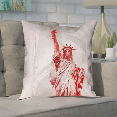 Houck Watercolor Statue of Liberty Waterproof Linen Pillow Cover Size: 16 x 16